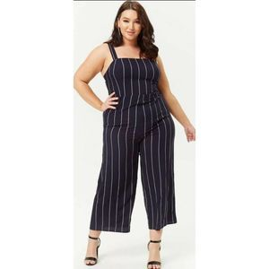 New Forever 21 Plus Size 3X Stripe Jumpsuit Navy